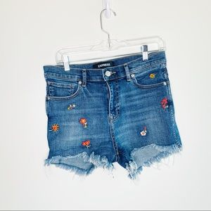 Express Midi High Rise Floral Embroidered Shorts